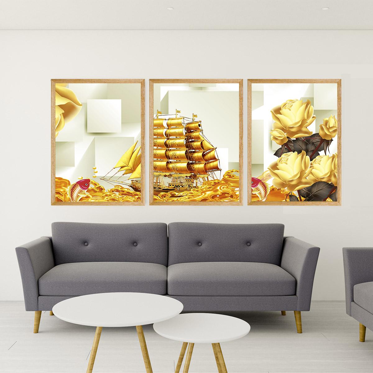 Bộ tranh Canvas 3 tấm Hình Chữ Nhật kích thước 40x60cm , In Họa Tiết Thuận buồm xuôi gió -Mẫu TBMN009