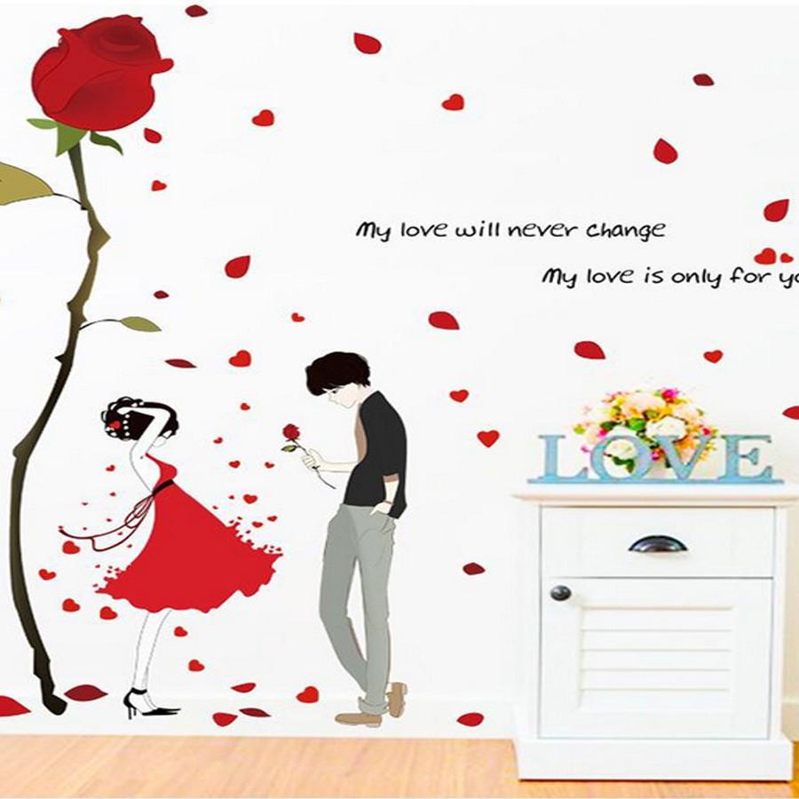 Decal dán tường đôi tình nhân và hồng một bông