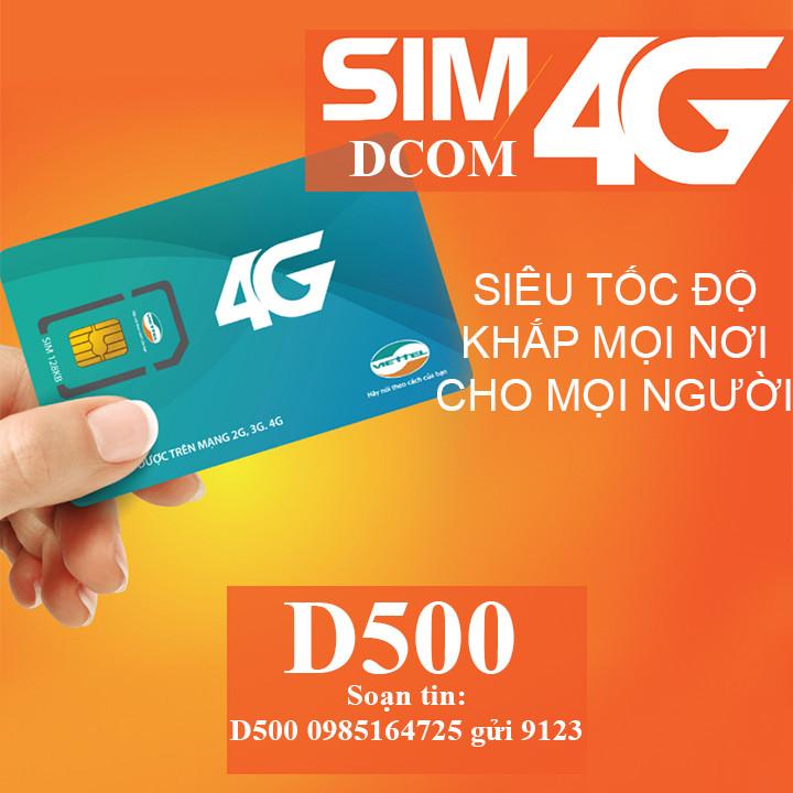 Sim Dcom 4G D500 Viettel Trọn Gói 12 Tháng (4Gb/Tháng) Tốc Độ Cao - Hàng Chính Hãng - Mẫu ngẫu nhiên