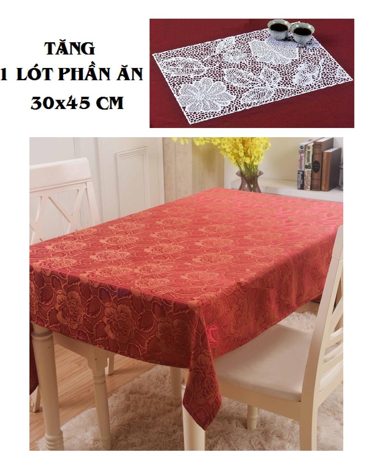 COMBO KHĂN TRẢI BÀN PAULEE - WB 601 (150 x 120 cm) Đỏ - TẶNG LÓT PHẦN ĂN 30 x 45 cm