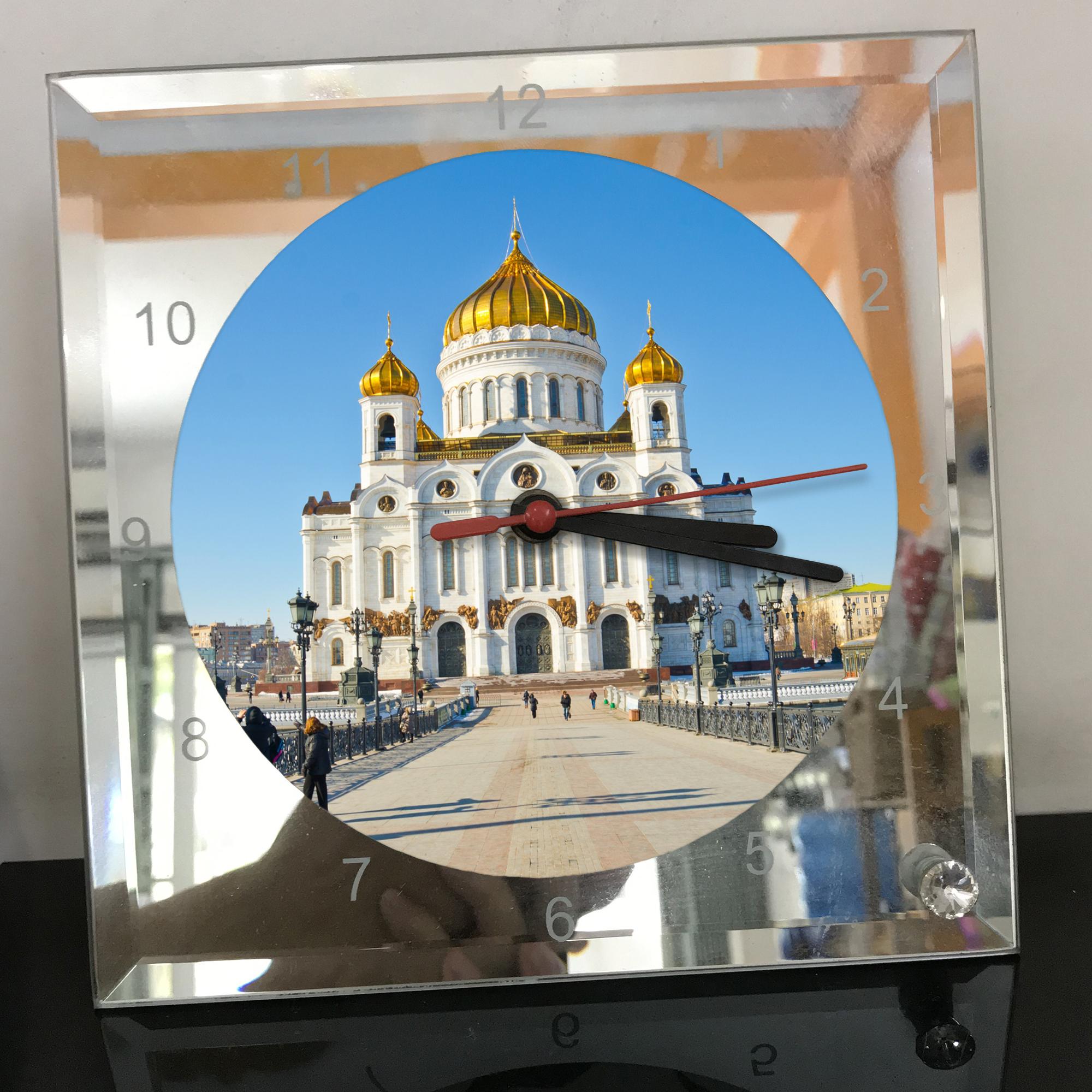 Đồng hồ thủy tinh vuông 20x20 in hình Cathedral Of Christ the saviour (39) . Đồng hồ thủy tinh để bàn trang trí đẹp chủ đề tôn giáo