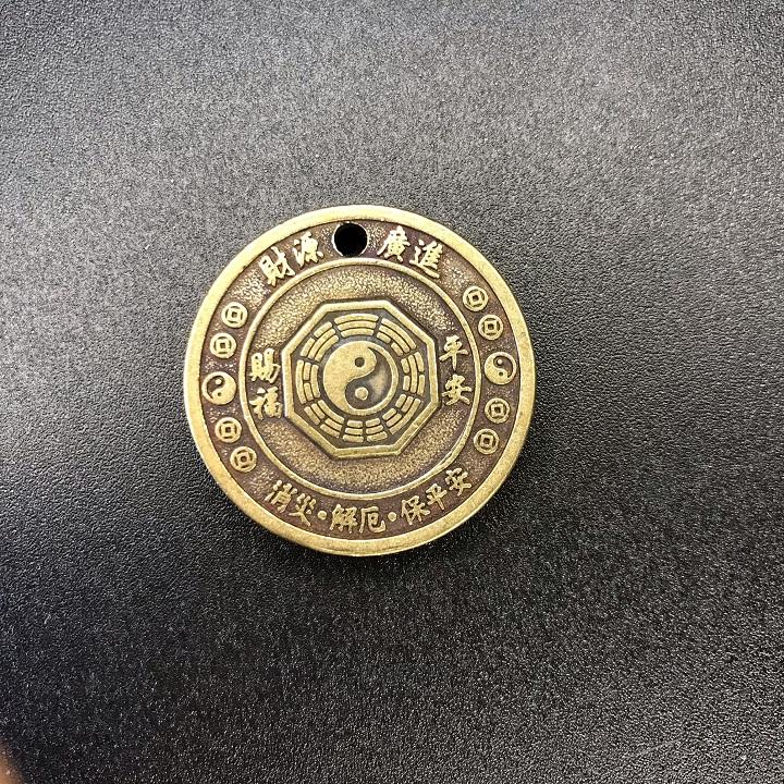 Mặt đồng xu đồng hình con Chó, làm móc đeo chìa khóa, mặt dây chuyền, quà tặng người thân, bạn bè ý nghĩa - SP002440