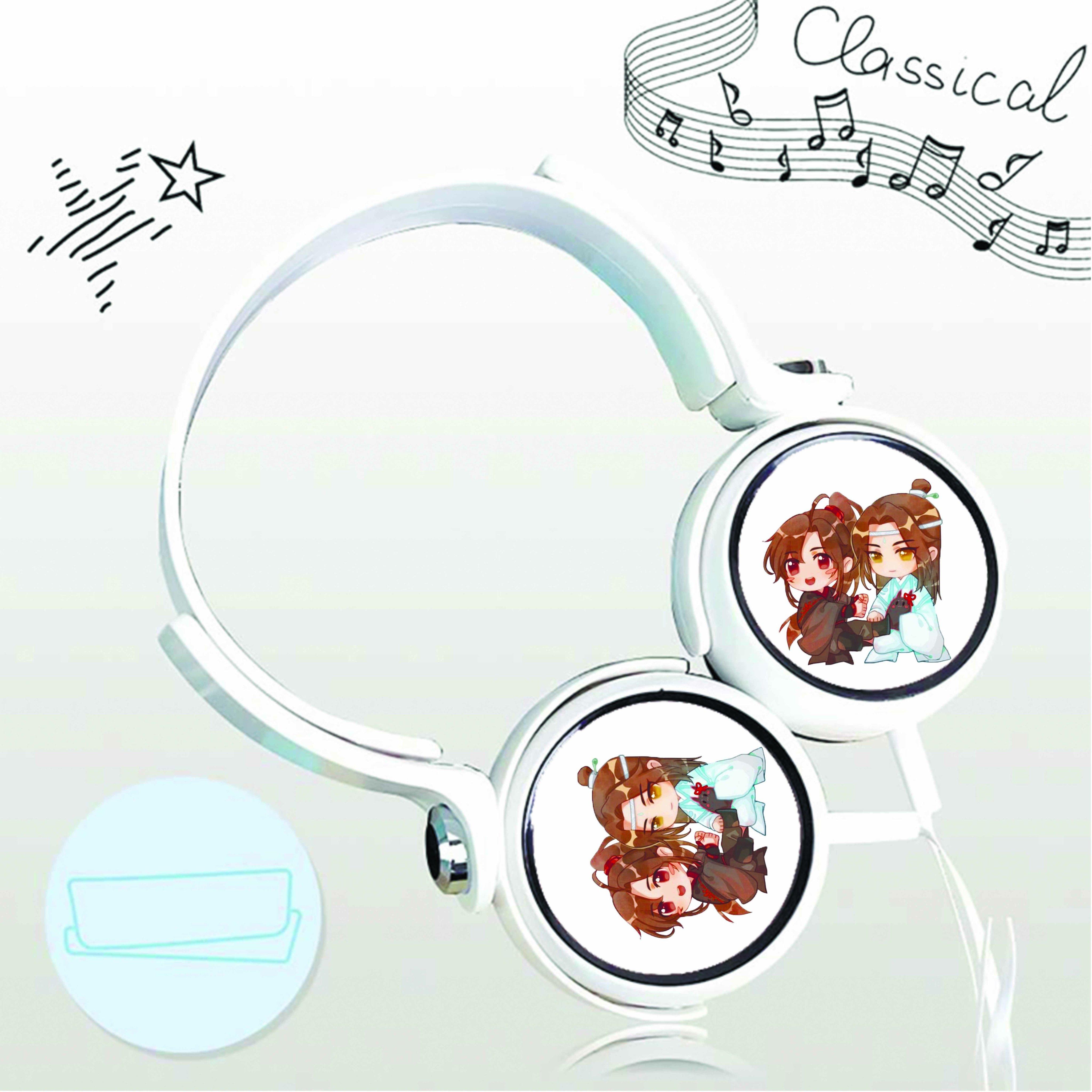 Tai nghe chụp in hình Trần Tình Lệnh Ma Đạo Tổ Sư anime chibi cắm dây có mic