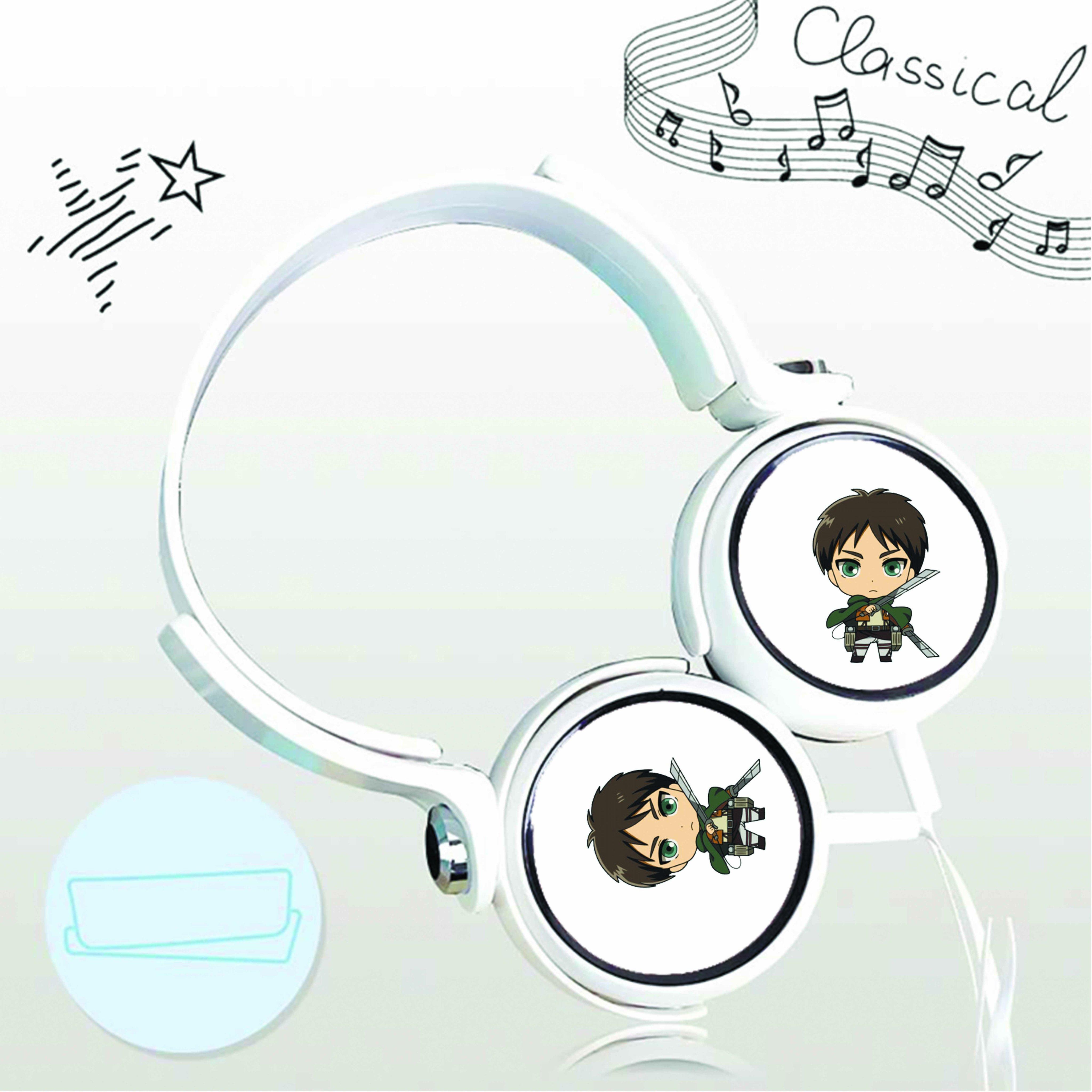 Tai nghe chụp in hình Attack On Titan - Đại Chiến Titan anime chibi cắm dây có mic