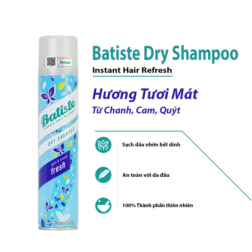 Dầu Gội Khô Batiste Tươi Mát Tức Thì - Batiste Dry Shampoo Light & Breezy  Fresh 200ml - Dầu Gội Hiệu batiste | Haxaki.Com