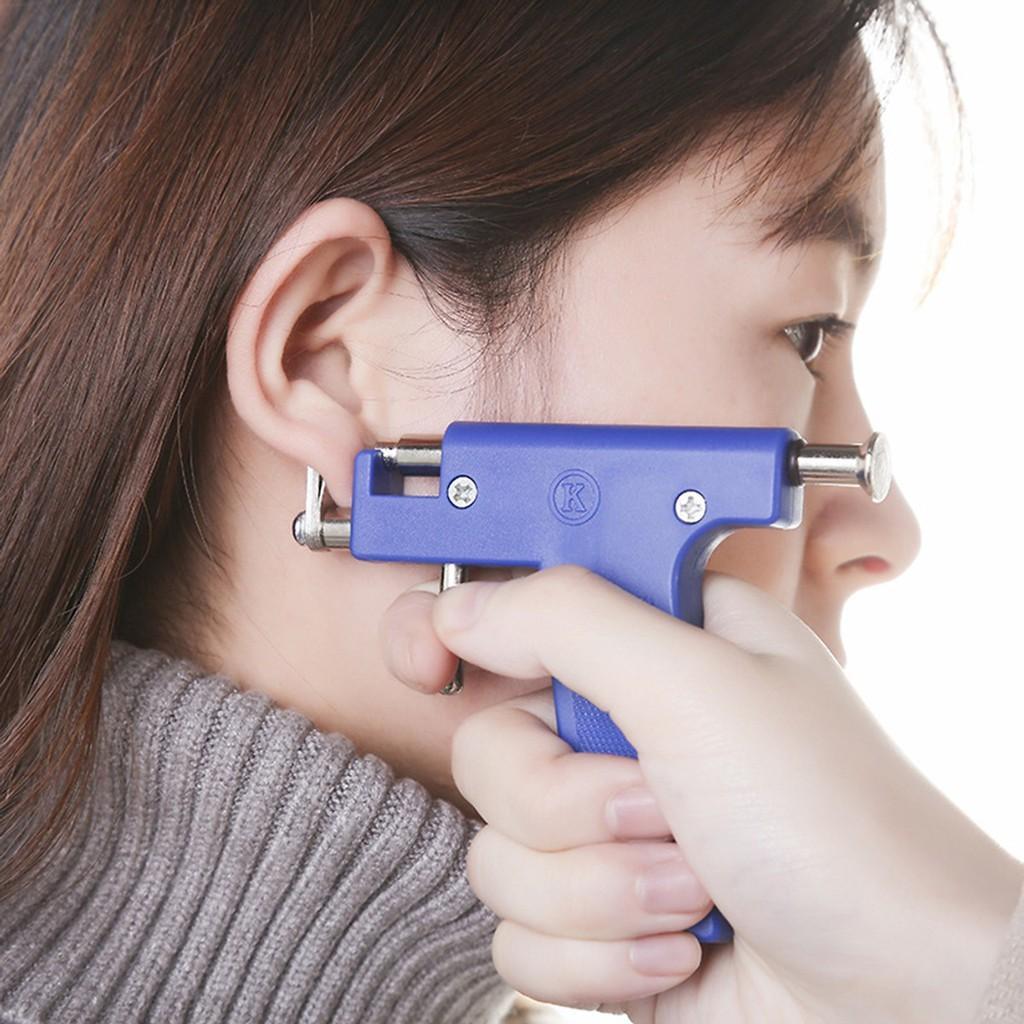 Dụng cụ xỏ lỗ tai - máy bấm lỗ tai - kèm gương, bút định vị và 98 khuyên