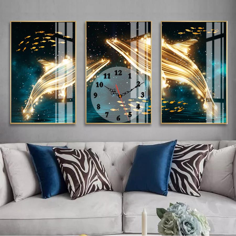 Tranh treo tường, tranh đồng hồ NT213 bộ 3 tấm ghép
