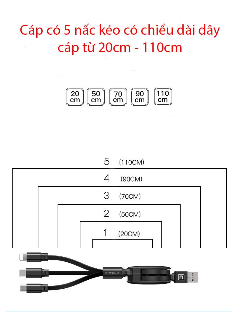 Cáp sạc đa năng cuộn rút 3 trong 1 (Android, iOS, Type C), dây cáp sạc điện thoại Cafele- Hàng nhập khẩu