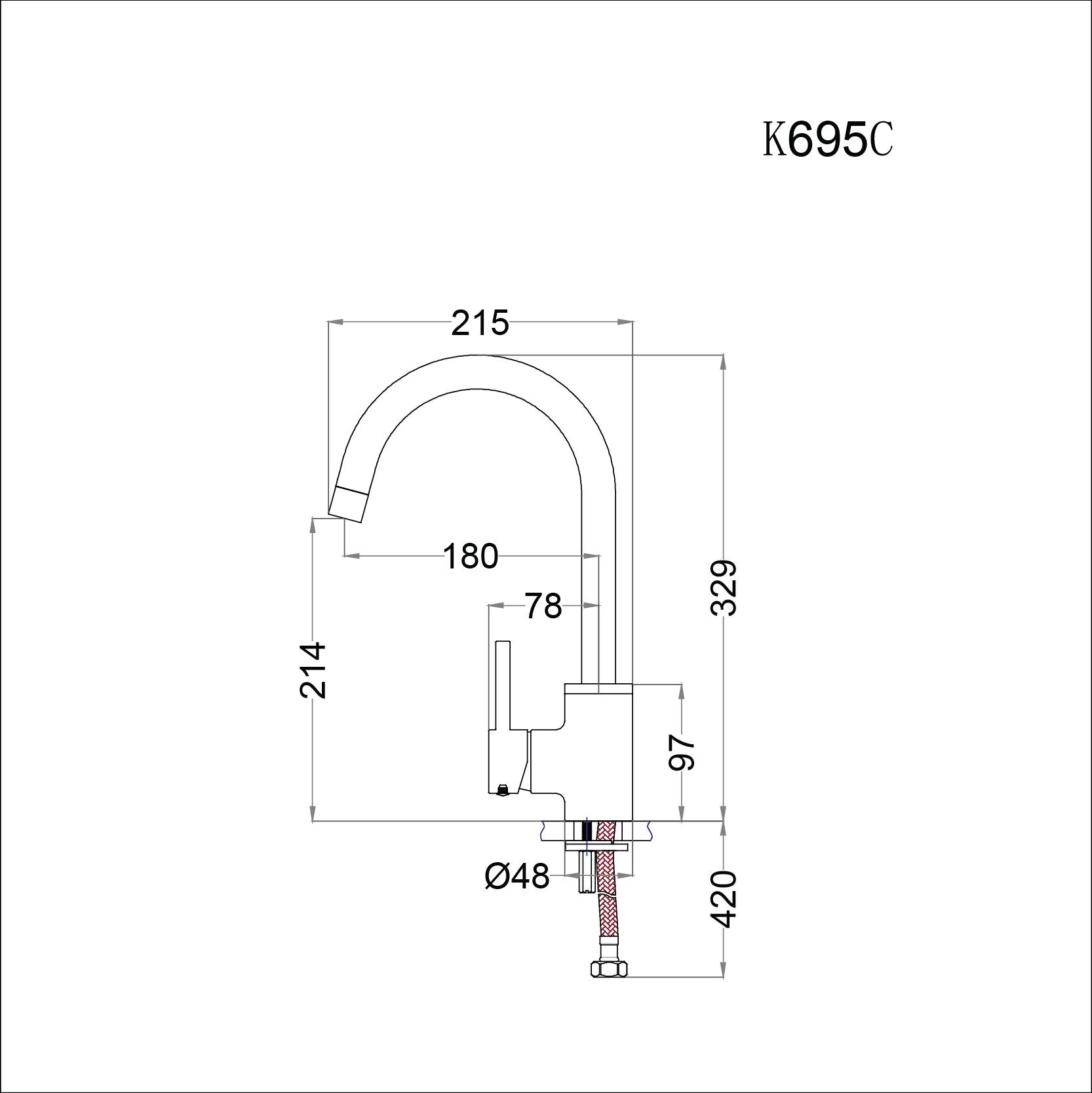 Vòi rửa bát (chén) nóng lạnh gắn chậu cao cổ Caesar K695C - chiều cao vòi 329mm