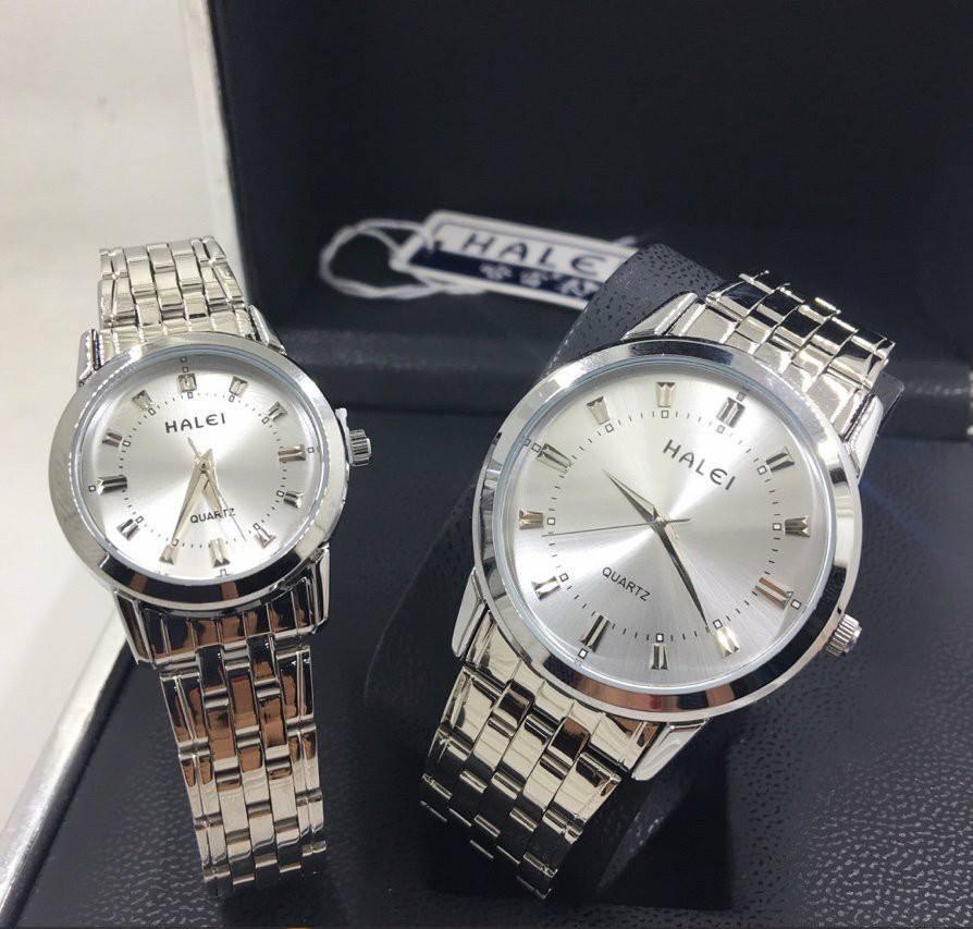 Cặp đồng hồ Nam Nữ Halei - HL502 Dây Bạc
