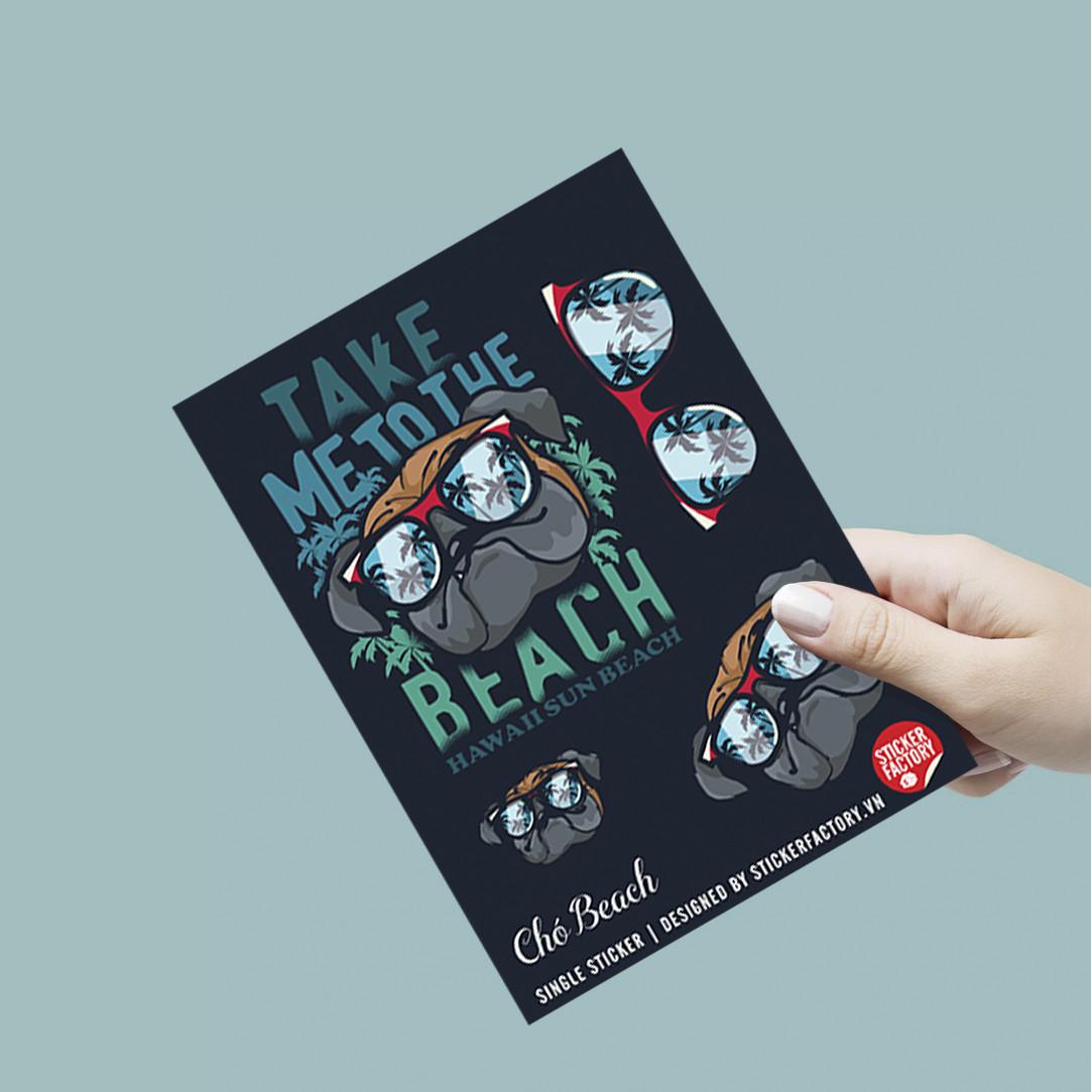 Chó Beach - Single Sticker hình dán lẻ