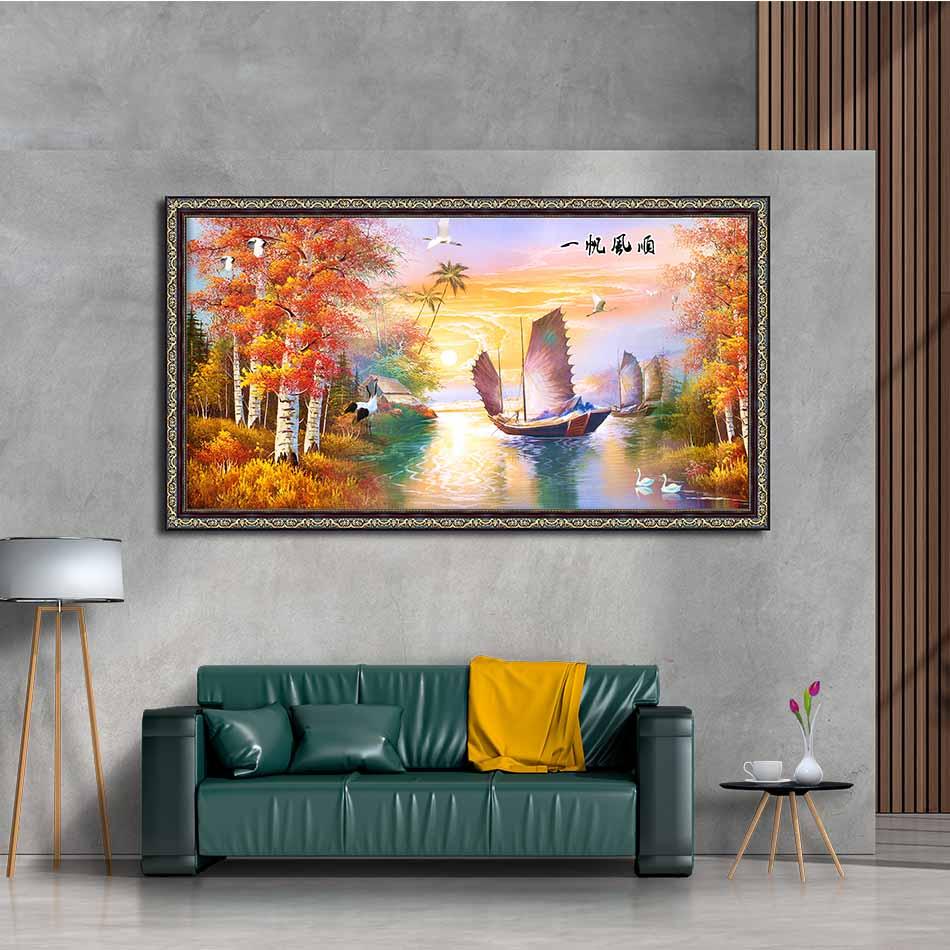 Tranh canvas phong thủy treo tường - Thuận buồm xuôi gió - TBXG015 - Khung hoa văn sang trọng - 150x80cm