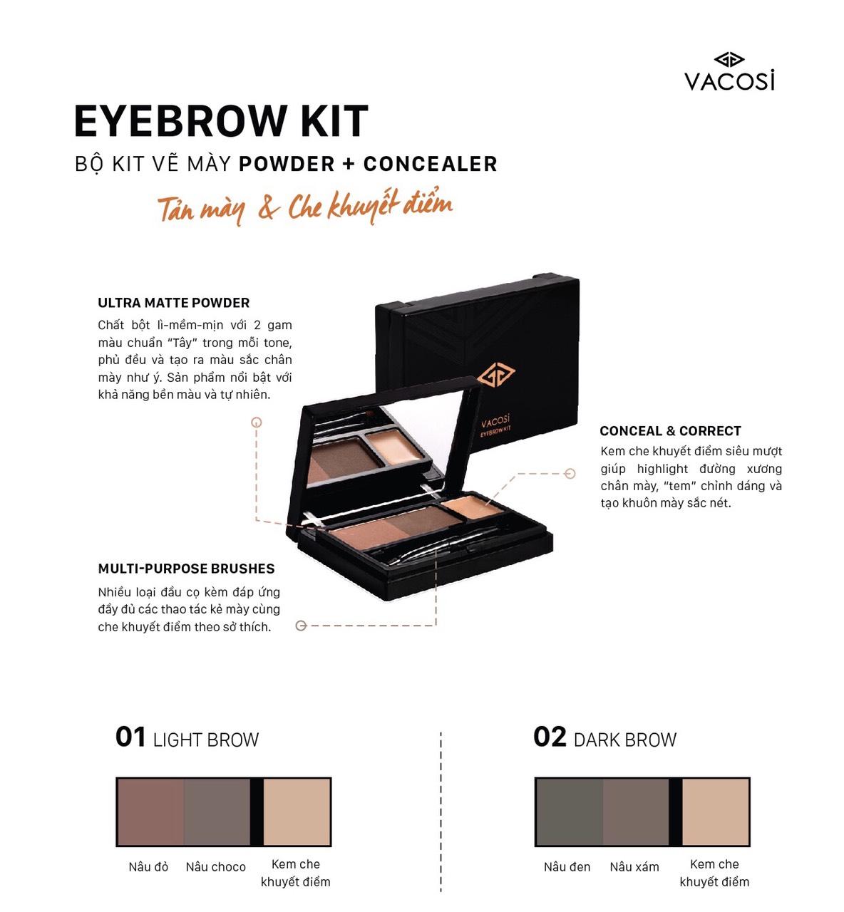 Bột Vẽ Chân Mày Vacosi EyeBrow Kit