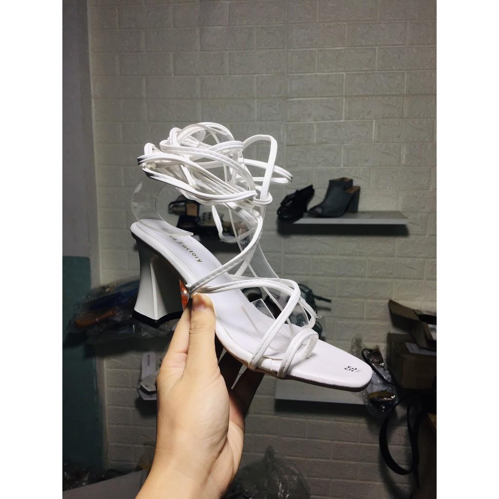 Giày cao gót chiến binh cột dây cao 7cm