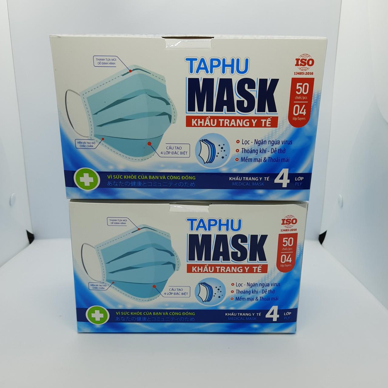 [COMBO 2 HỘP] Khẩu trang y tế 4 lớp hộp 50 cái màu xanh vải kháng khuẩn, có gọng mũi TAPHU MASK đạt tiêu chuẩn chất lượng của Bộ Y Tế