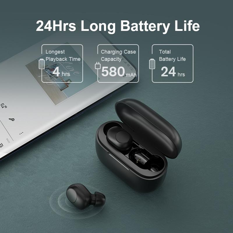 Tai Nghe True Wireless HAYLOU GT5 - Cổng Sạc Type C/ Hỗ Trợ Sạc Không Dây - Hàng Chính Hãng