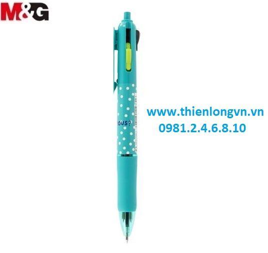 Bút bi 4 màu M&G - ABP803S6 xanh ngọc