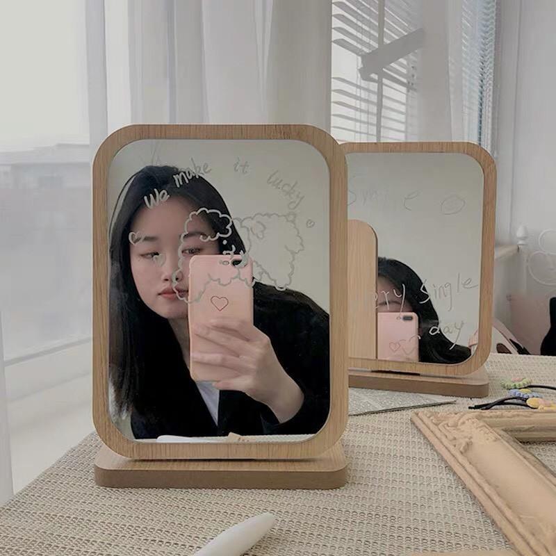 GƯƠNG GỖ HÀN QUỐC  Gương Gỗ Để Bàn Tặng Kèm Bút Viết Mặt Gương Độc Đáo Cho Bạn Thỏa Sức Sáng Tạo