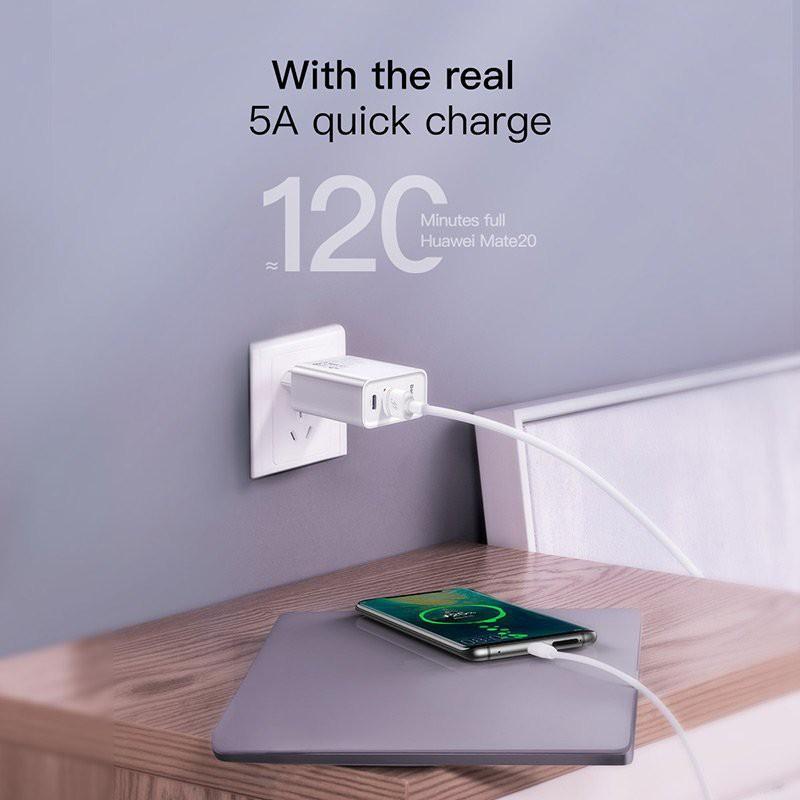 Cốc sạc nhanh PD/QC 3.0 - Củ sạc nhanh đa năng (chuôi dẹt)-  Baseus Speed Dual Quick charger 30W ( USB 3.0 + Type C Power Delivery) - Hàng Chính Hãng