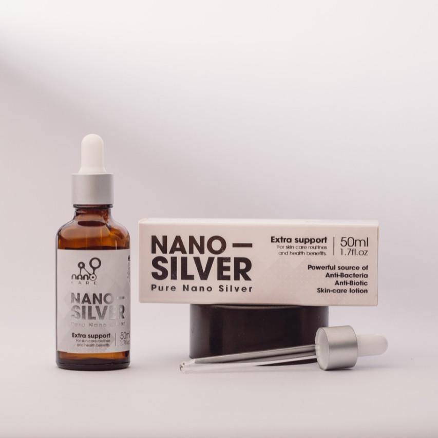 COMBO 2 Chai Hỗ Trợ Trị Mụn Viêm Nano Bạc tinh khiết làm sạch da từ bên trong kháng viêm,giảm thâm, mờ sẹo (50ML+15ML)