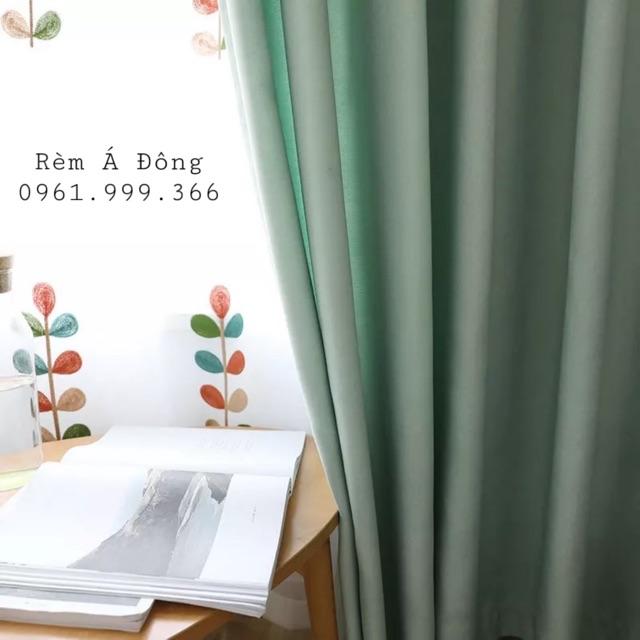 Rèm cửa tone Xanh Pastel xinh xắn, rèm vải thô cản sáng 75% - Cao cố định 2.0m