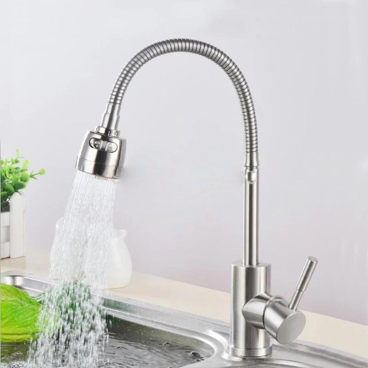 Vòi rửa chén bát cần bẻ lò xo xoay 360 độ INOX SUS 304  L-524