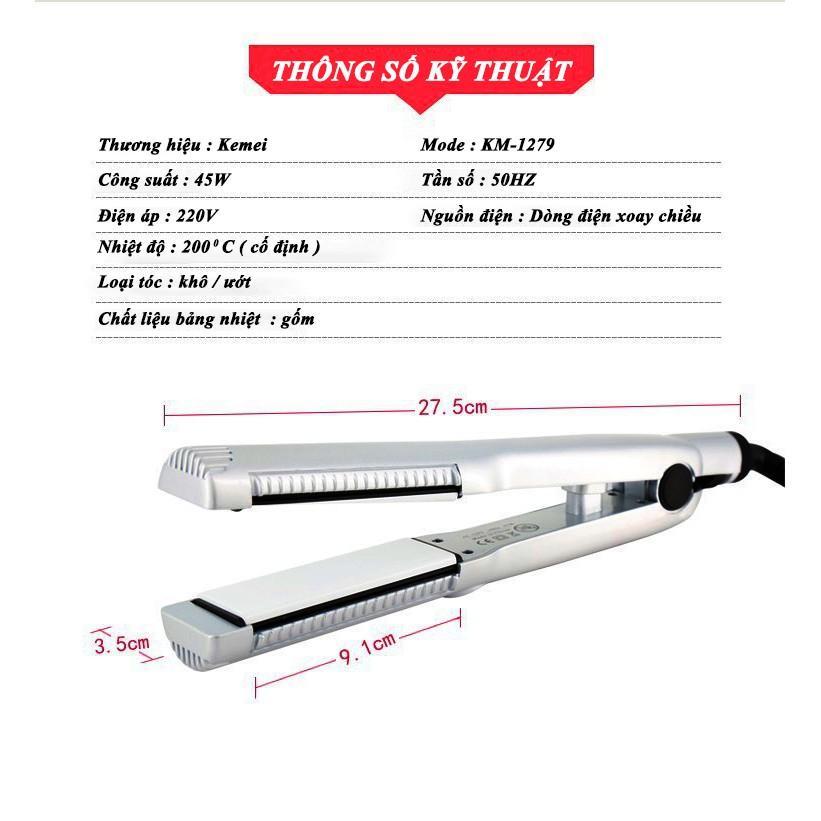 Máy duỗi tóc kemei KM - 1279 làm nóng nhanh nhiệt độ cố định có thể duỗi - uốn cúp - uốn xoăn - Phân phối chính hãng