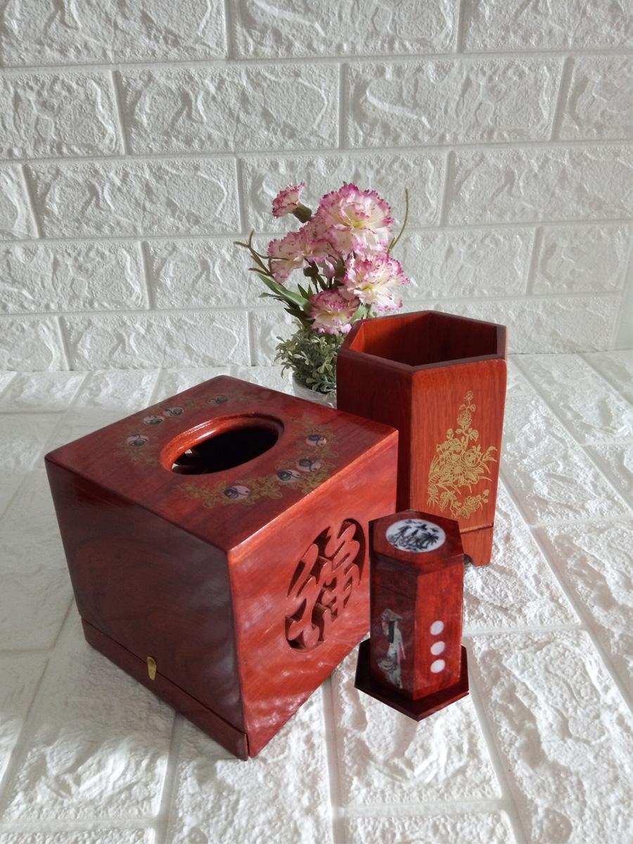 Bộ ba tiện ích gia đình hộp giấy vuông,hũ tăm,ống đựng đồ mini COB03