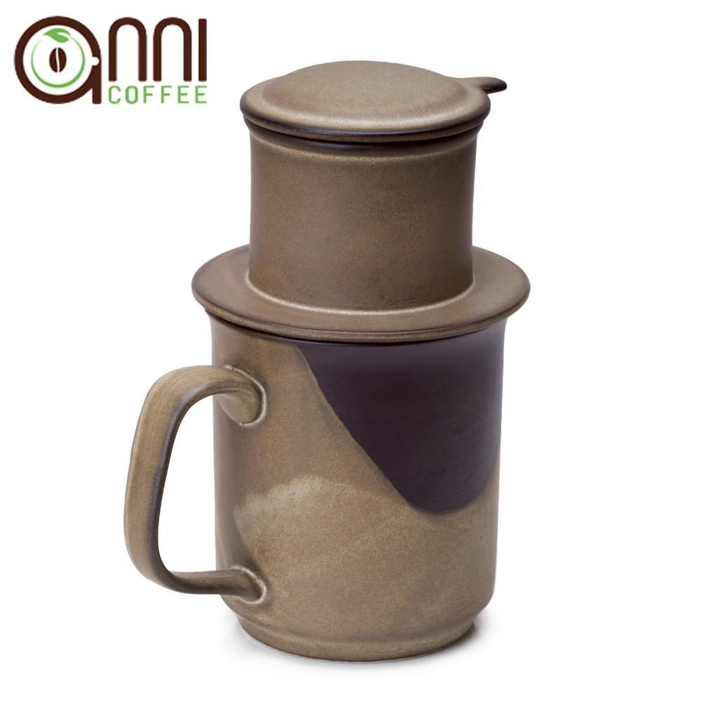 Phin cà phê gốm Bát Tràng nâu cao cấp Anni Coffee hàng xuất Nhật