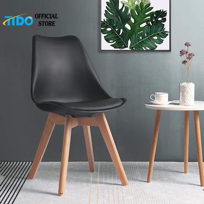 Ghế ăn nệm - Ghế nhựa chân gỗ Kachi Eames có nệm lót - Thương Hiệu TIDO