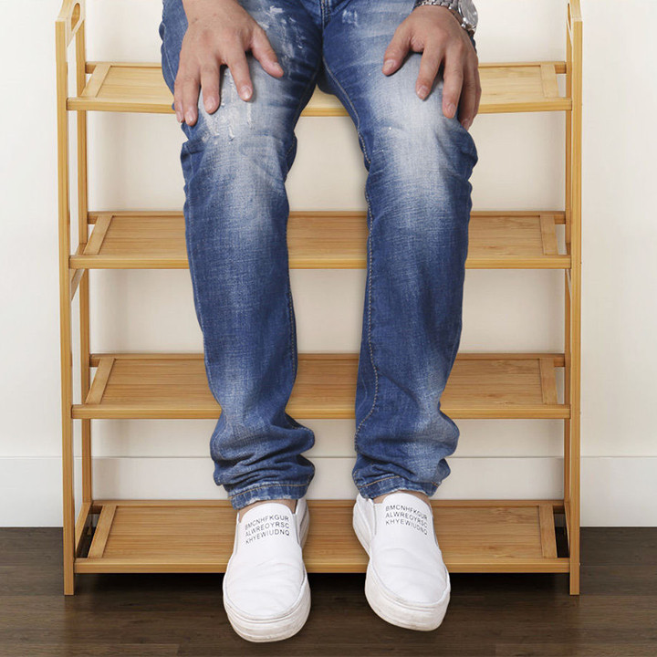 Kệ để giày dép bằng gỗ tre chống mối mọt 4 tầng 80cm TUR058