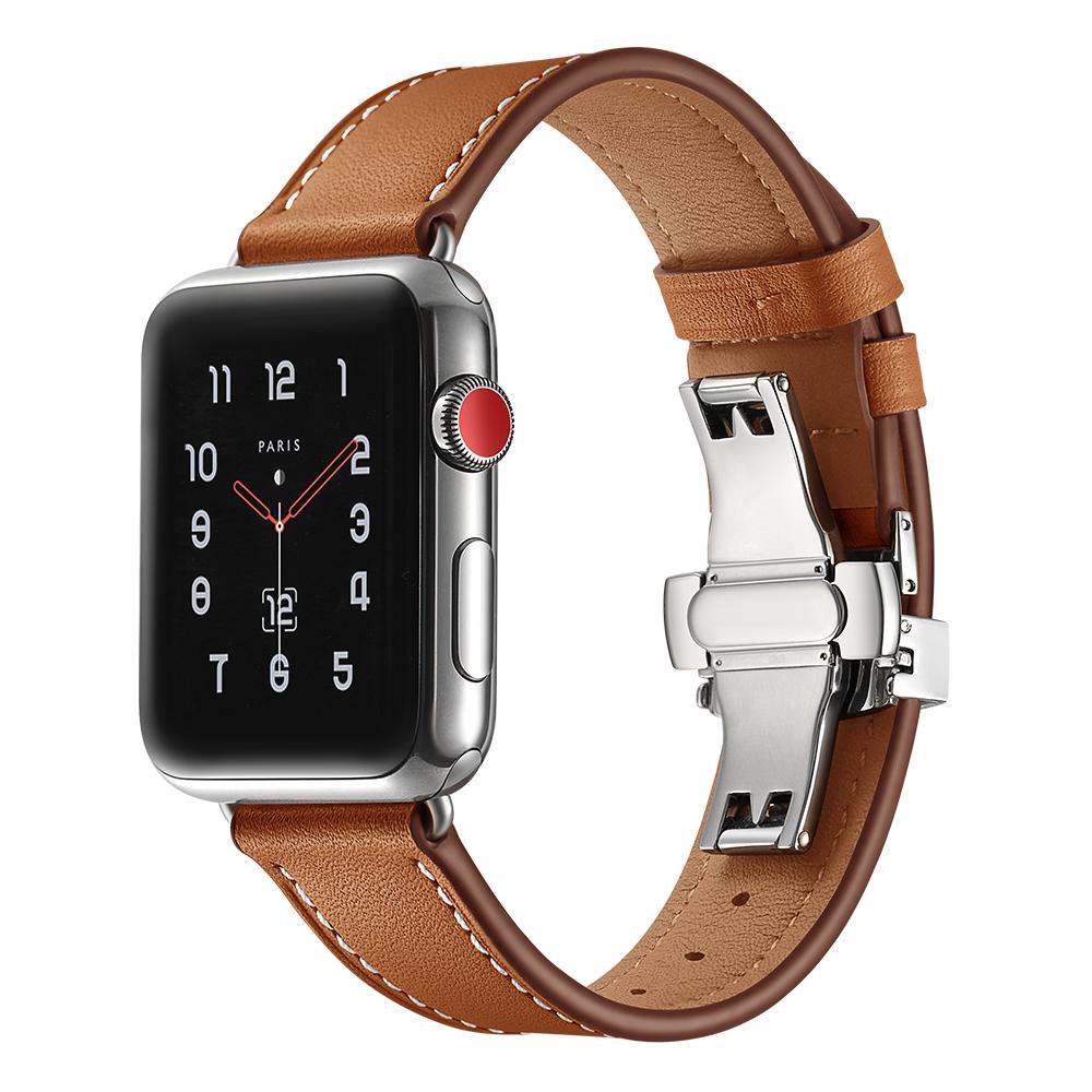 Dây Da Cho Apple Watch 38/40mm Khóa Bướm Bạc