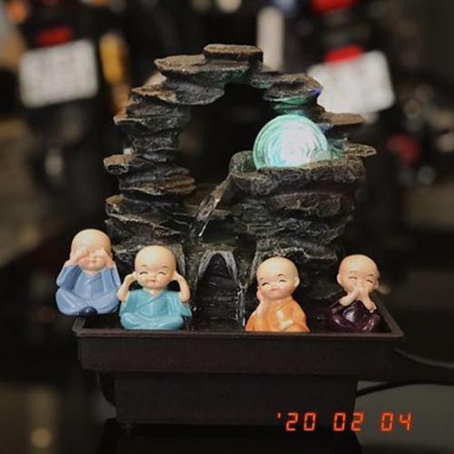 Combo thác nước mini để bàn Phong Thuỷ Luân + 4 chú tiểu An Yên