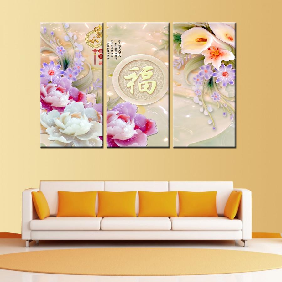 Tranh Canvas treo tường nghệ thuật | Tranh bộ nghệ thuật 3 bức | HLB_015