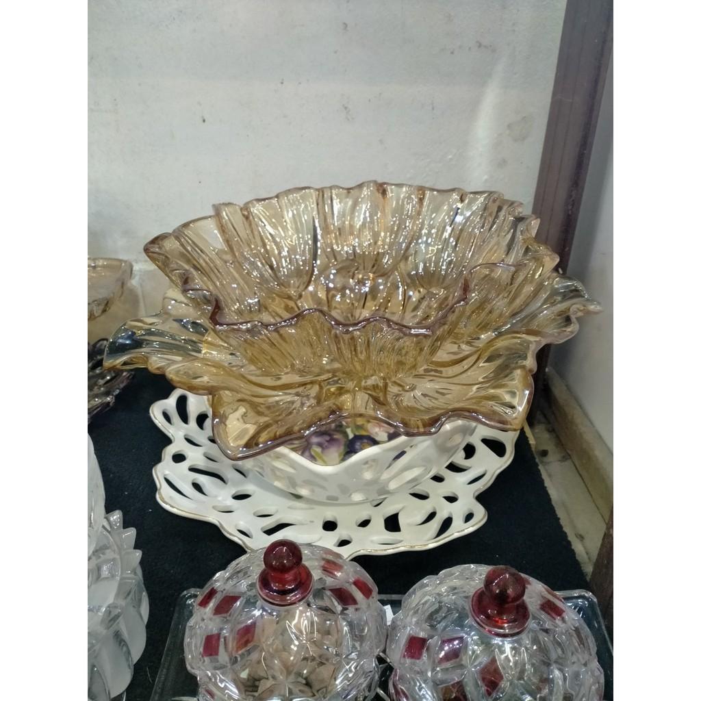 Đĩa Thủy Tinh Cánh Sen Vàng Đựng Bánh Kẹo Hoa Quả