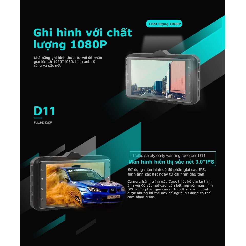 CAMERA hành trình - Thiết bị cảnh báo an toàn Acumen D11 Màn hình 3.0'' IPS, Hình ảnh HD 1080P