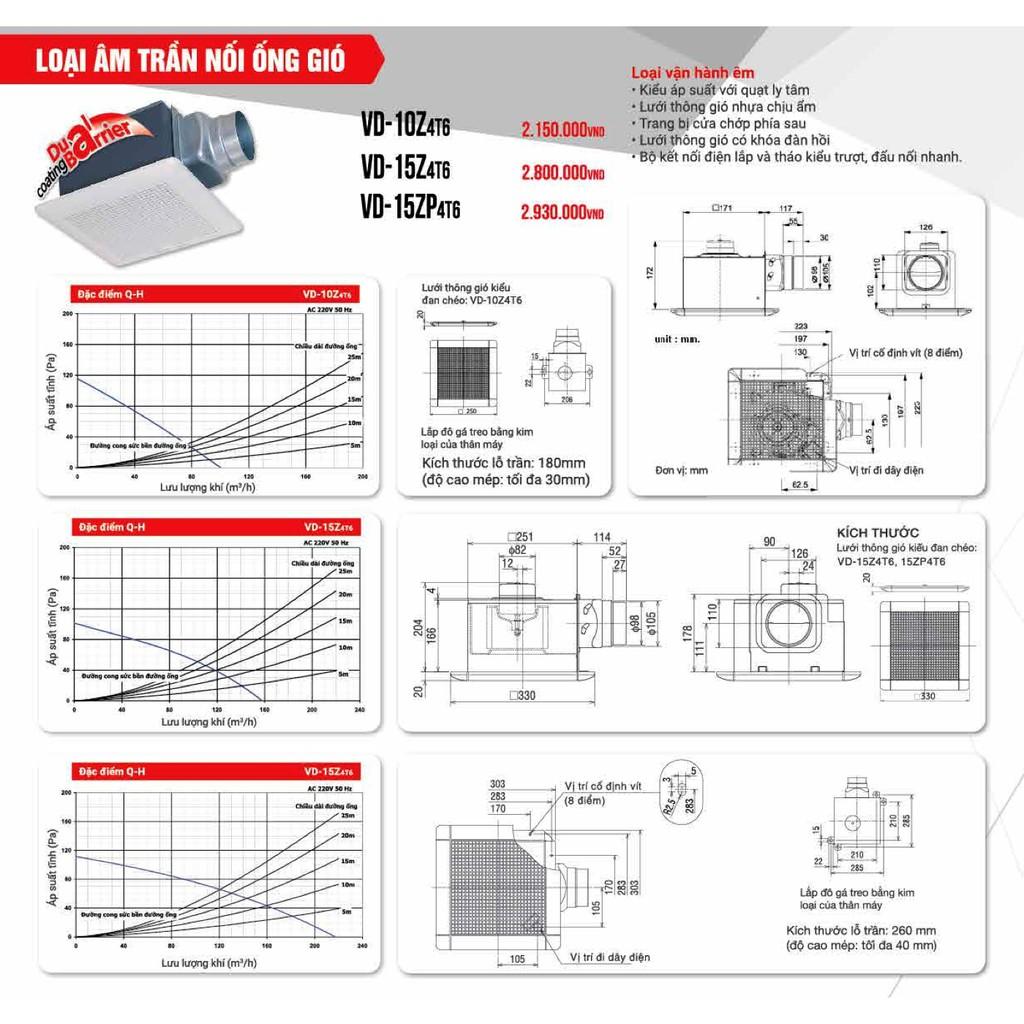 Quạt hút âm trần nối ống gió Mitsubishi VD-15Z4T6 12W Made in ThaiLand HÀNG CHÍNH HÃNG