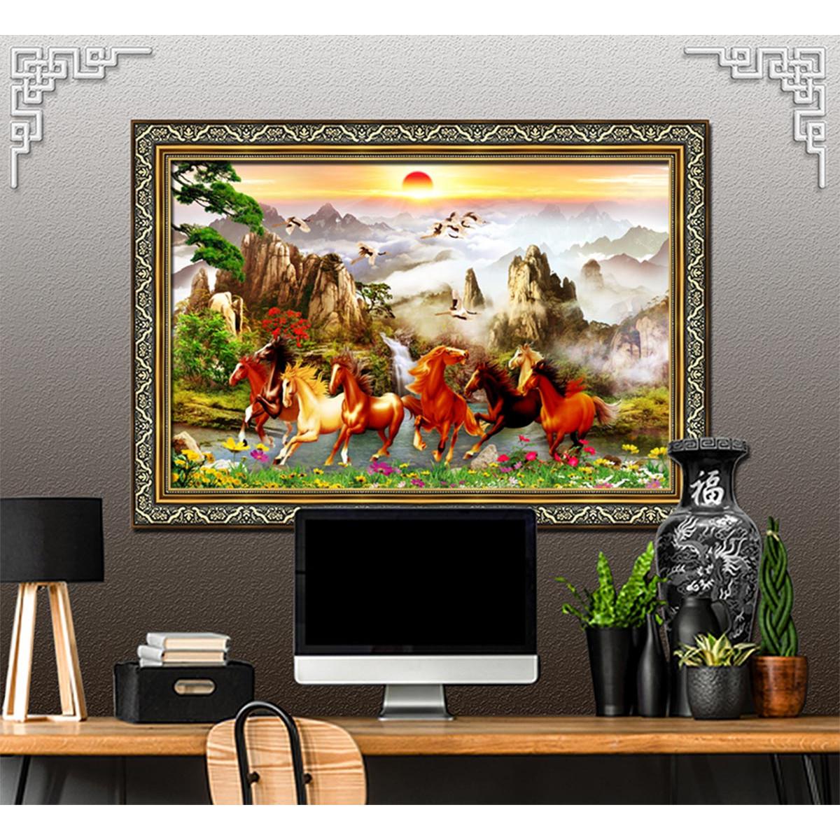 Bức tranh ngựa BÁT MÃ -  MÃ ĐÁO THÀNH CÔNG 2 lựa chọn chất liệu in vải lụa hoặc trên giấy ảnh bề mặt PVC gương: 20071527L8
