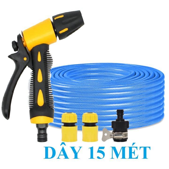 Bộ dây vòi xịt nước rửa xe, tưới cây . tăng áp 3 lần, loại 15m 206236 đầu đồng,cút+ tặng mở chai