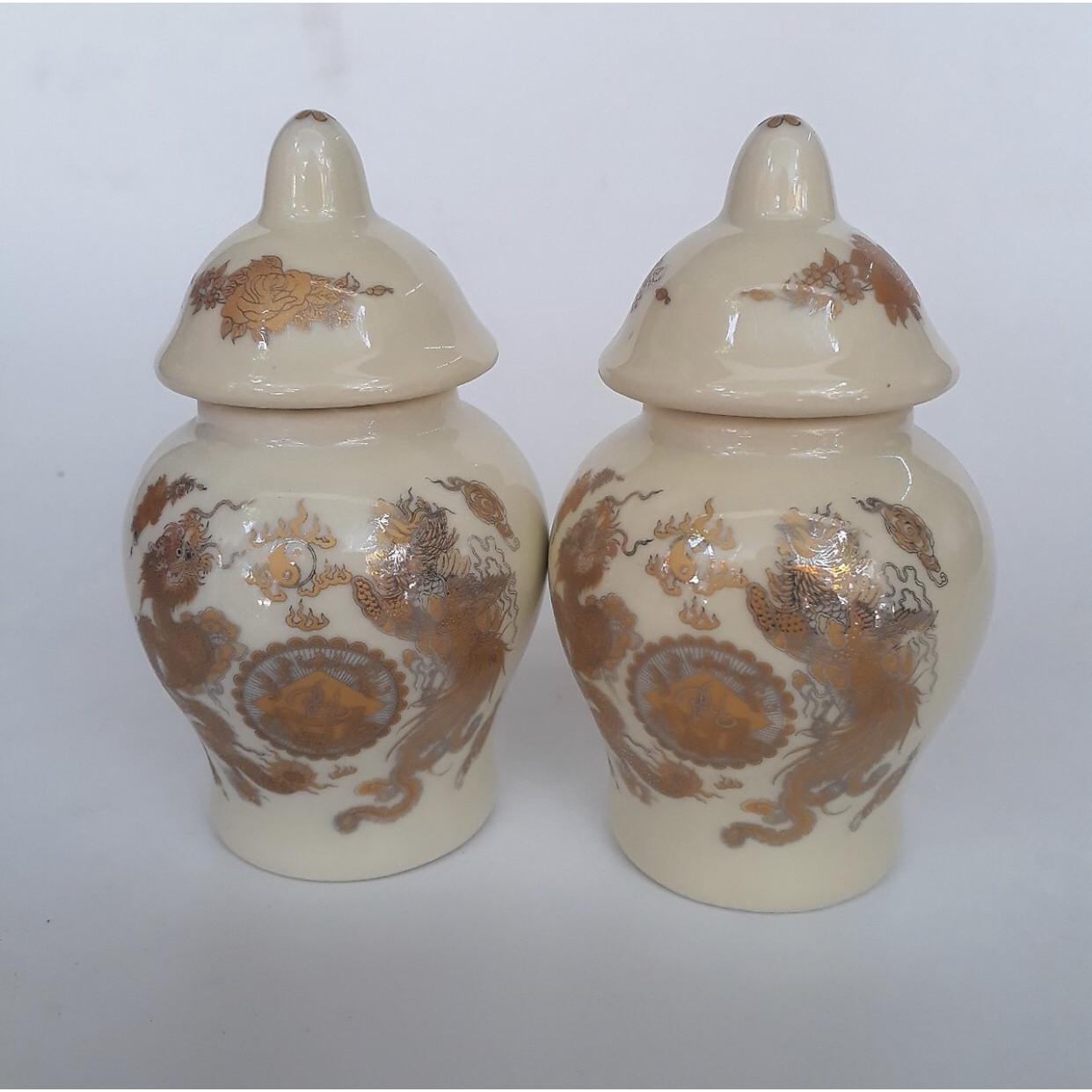Đôi hũ thờ gạo muối bằng sứ bát tràng BH609