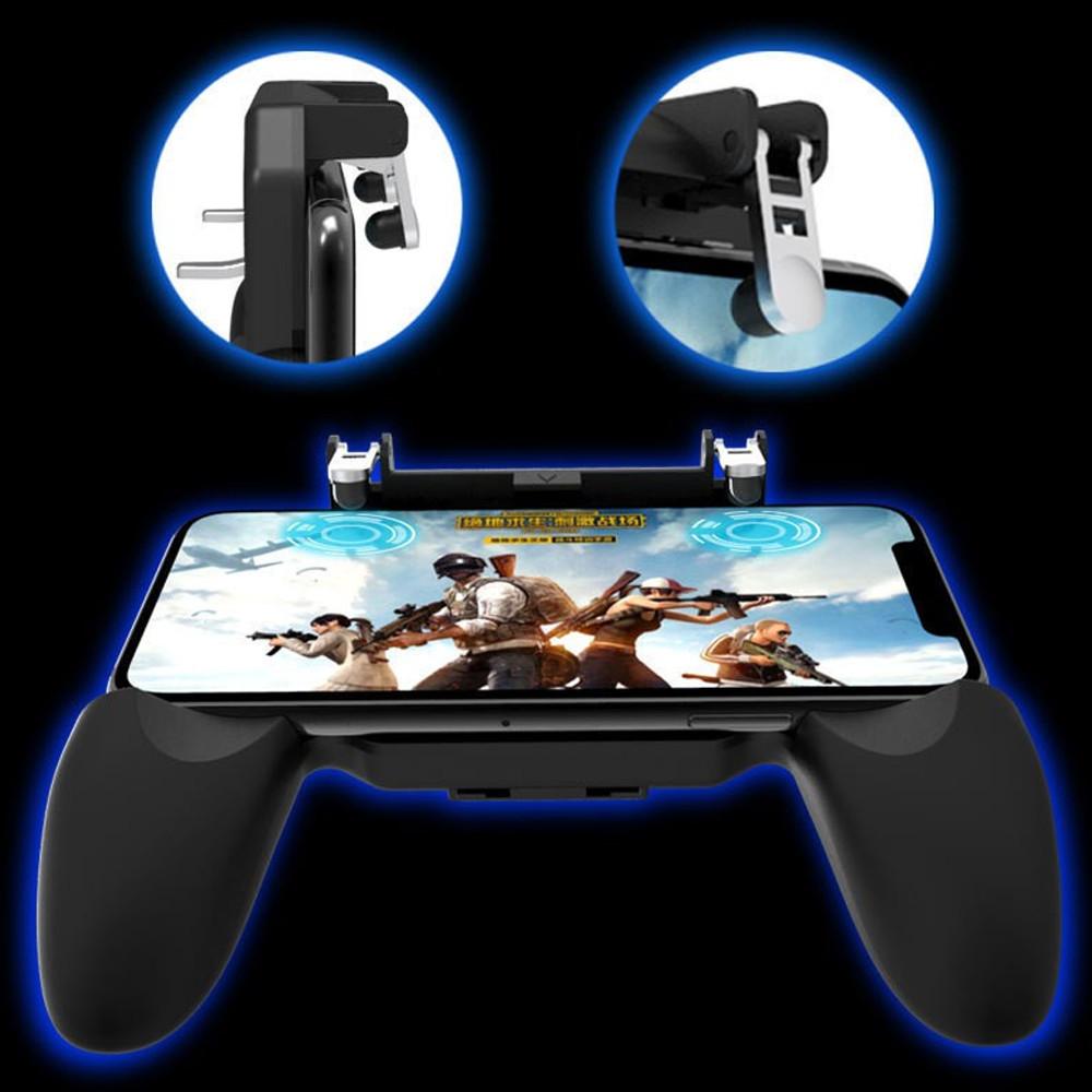 Tay cầm chơi game PUBG mobile W10 tay gắn điện thoại kèm nút bắn