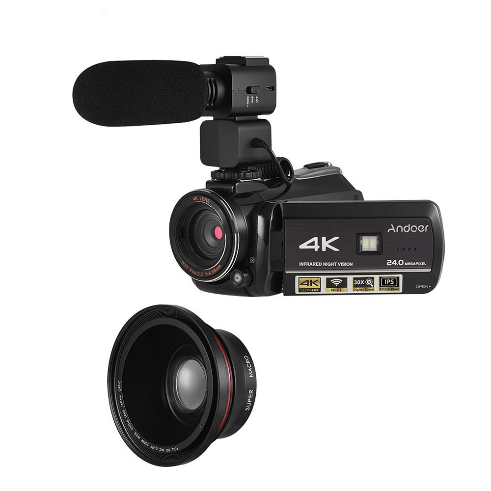 Andoer AC3 4K UHD 24MP Digital Video Camera Camcorder DV Recorder 30X Zoom WiFi Connection IR Night Vision 3.1 Inch IPS - Black EU Plug