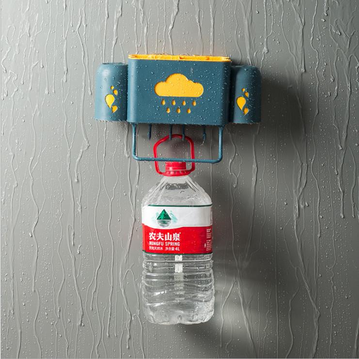 Kệ để đồ dùng nhà tắm đa năng dán tường hình đám mây có móc treo đồ tặng kèm 2 cốc đánh răng siêu tiện dụng - giao màu ngẫu nhiên