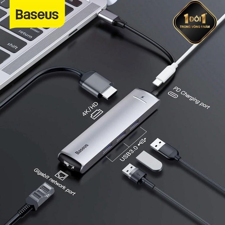 Hub chuyển Type-C  6 in 1 Smart Hub cho Smartphone/ Laptop/ Macbook (3xUSB 3.0, HDMI 4K, LAN, PD) - Hàng Chính Hãng Baseus