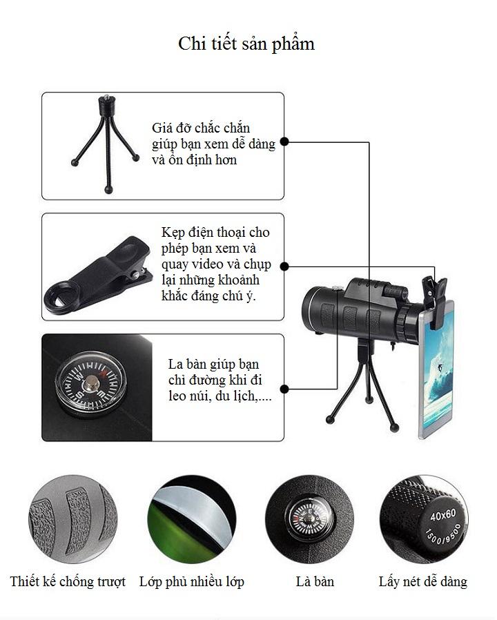 Ống nhòm một mắt cao cấp đa năng kẹp điện thoại chụp ảnh từ xa có khả năng chống nước 40x60 ( Hình ảnh rõ nét - Tặng kèm miếng thép để ví 11 chức năng trong 1 )