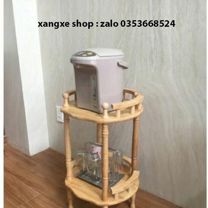 Kệ để bình nước 2 tầng bằng gỗ tự nhiên tiện dụng an toàn gọn gàng