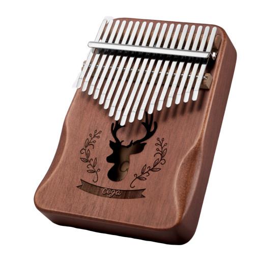 Đàn kalimba 17 phím gỗ nguyên khối Mahogany Cega -IM170153 họa tiết chú nai Tặng búa chỉnh âm , stick màu, khăn lau đàn và bông tắm xơ mướp PROVK399