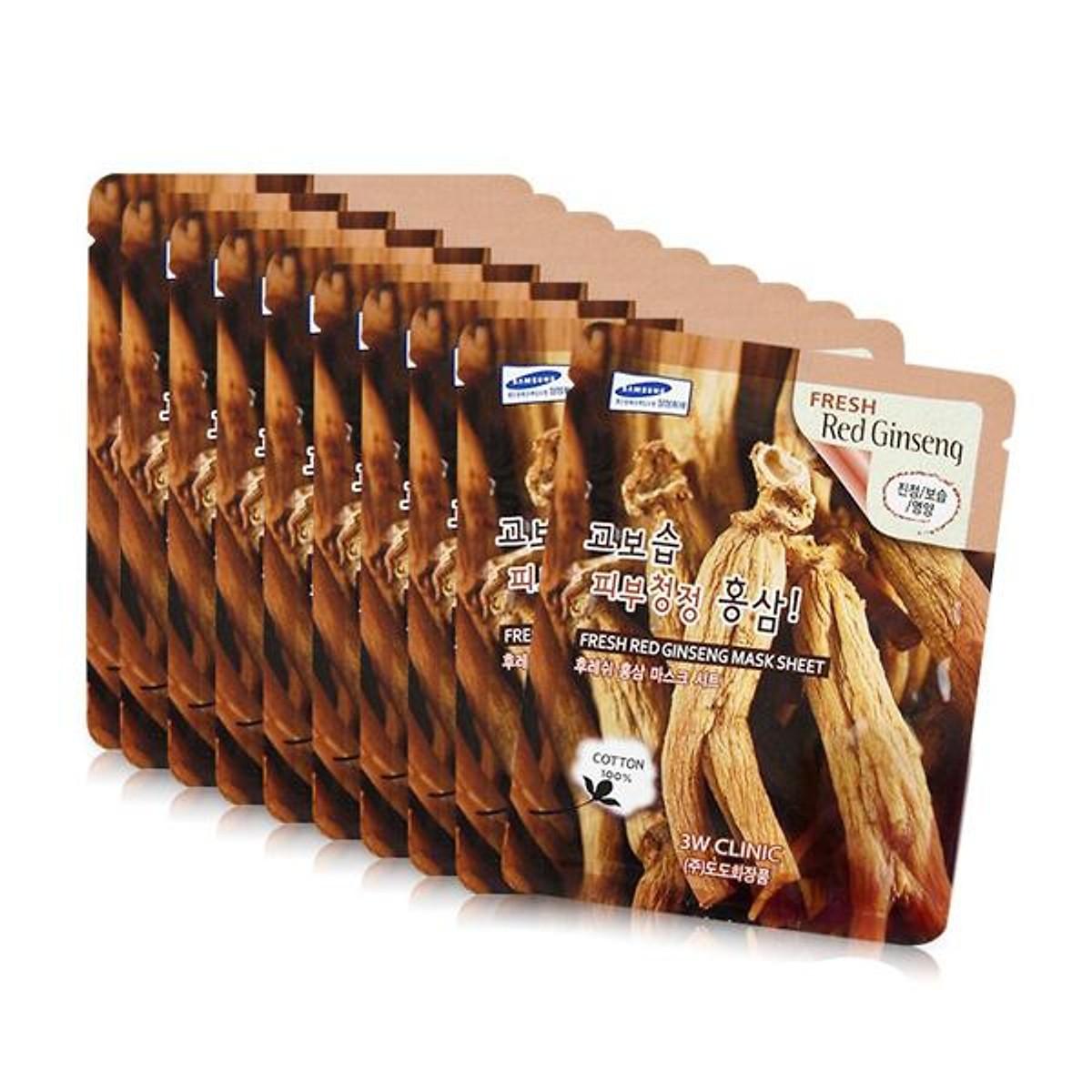 Combo Sữa rửa mặt chiết xuất từ than hoạt tính 3W CLINIC CHARCOAL CLEANSING FOAM và Bộ 10 gói mặt nạ dưỡng da 3W Clinic Fresh Red Ginseng Mask Sheet