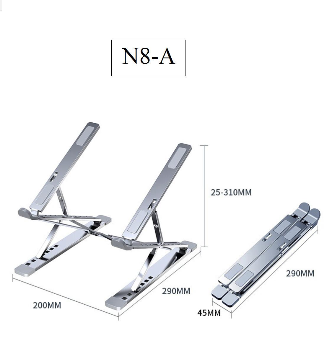 Giá đỡ nâng laptop stand nhôm 2 tầng 15 nấc chỉnh độ cao và có thể gấp gọn N8-A Vu Studio - Hàng chính hãng