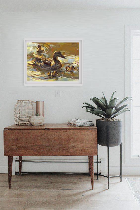 Tranh sơn dầu họa sỹ sáng tác vẽ tay: MẸ CON VỊT (7)